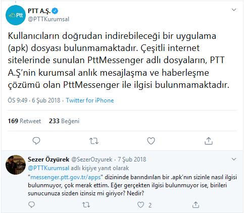 PTT Messenger Hakkında PTT A.Ş Tarafından yapılan açıklama