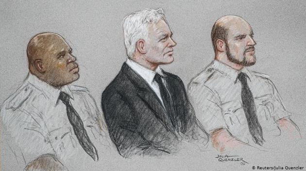 Assange duruşmasından bir çizim