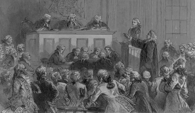 Duruşma esnasında Andrew Hamilton John Pter Zenger'i savunurken